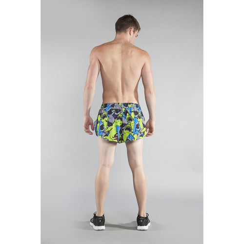 "Men's Stretch 1"" Elite Printed Split Run Short - JAWS GREEN"