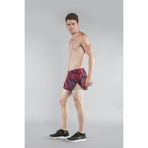 "Men's Stretch 1"" Elite Printed Split Run Short - LEILANI"