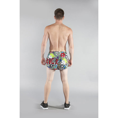 "Men's Stretch 1"" Elite Printed Split Run Short - Punk Rock"