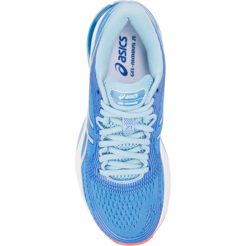 Women's GEL-Nimbus 21 (D-Wide) Running Shoe - Blue Coast/Skylight