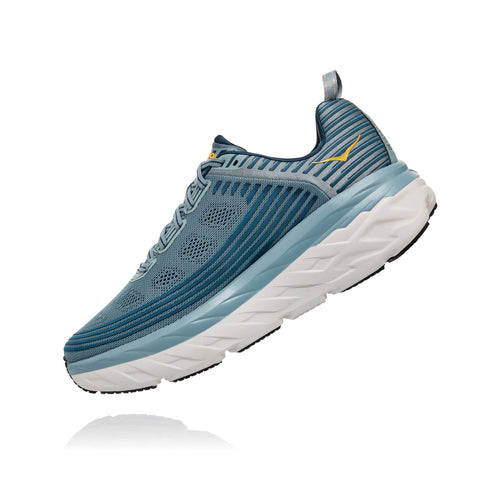 Men's Bondi 6 (Wide - 2E) Running Shoe - Lead / Mejolica Blue
