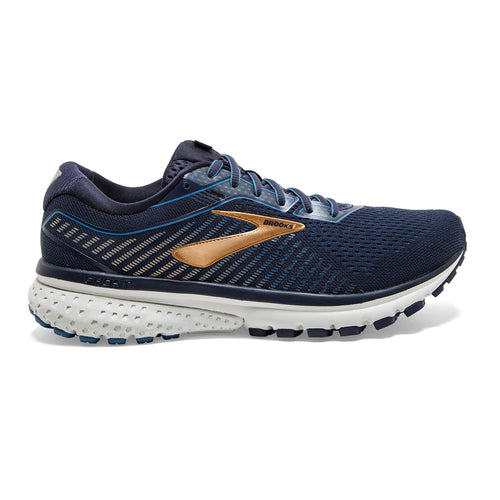 Men's Ghost 12 (2E - Wide) Running Shoe - Navy/Deep Water/Gold