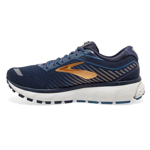 Men's Ghost 12 Running Shoe (2E-Wide) - Navy/Deep Water/Gold