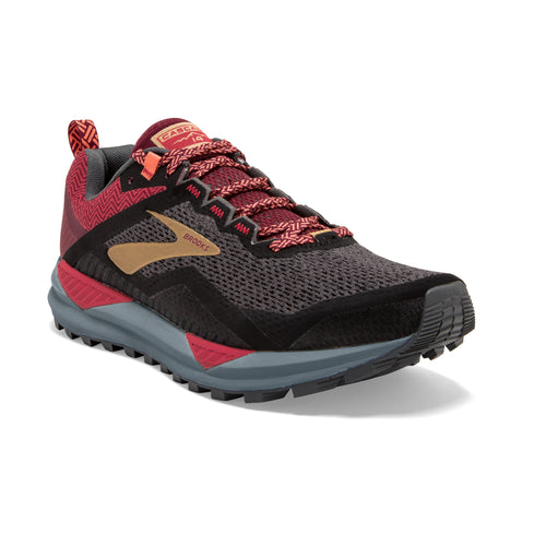 Women's Cascadia 14 Trail Shoe - Black/Rumba Red/Coral