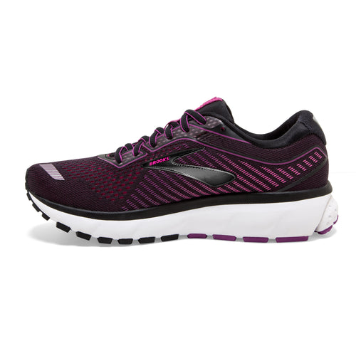 Women's Ghost 12 (D - Wide) Running Shoe - Black/Hollyhock/Pink