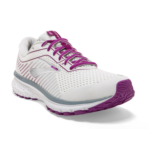 Women's Ghost 12 (B - Regular) Running Shoe - White/Grey/Hollyhock
