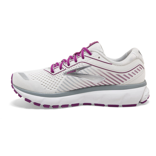 Women's Ghost 12 Running Shoe (D - Wide) - White/Grey/Hollyhock