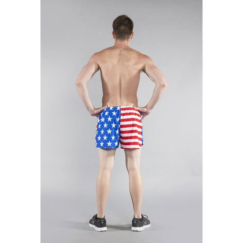"Men's Stretch 3"" Printed Half Split Trainer Short - AMERICAN FLAG"
