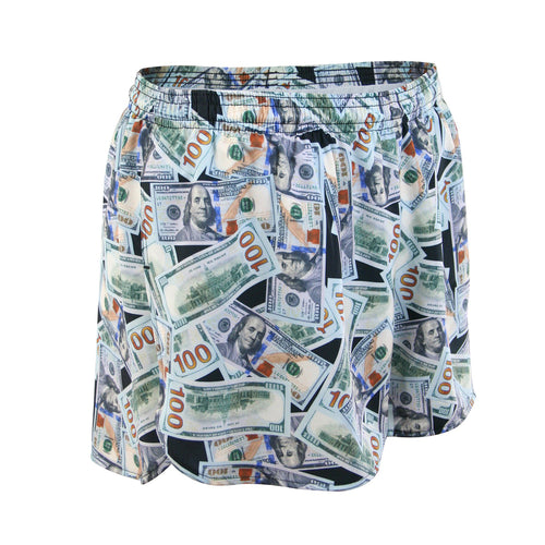 "Men's Stretch 3"" Printed Half Split Trainer Short - MONEY"