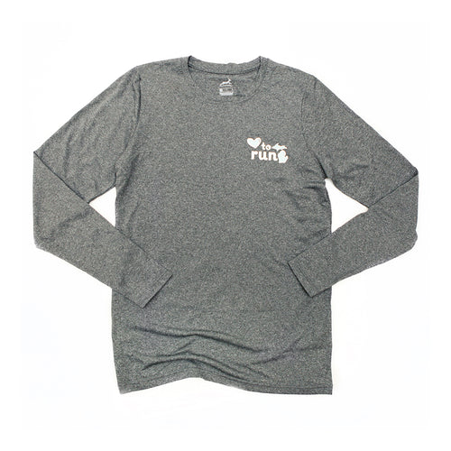 Unisex Love to Run Mitten Long Sleeve Melange Shirt - Dark Grey Heather