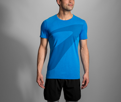 Men's Distance Graphic T-Shirt - Heather Azul/Path