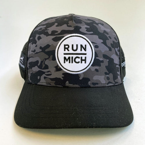Unisex RUN MICH Running Trucker Hat - Black Camo
