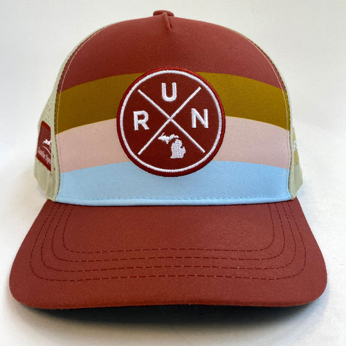RUN X Running Trucker Hat - Dusty Pink Stripes