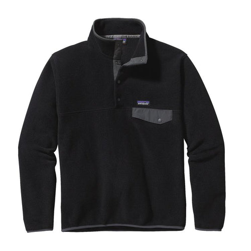 Men's Lightweight Synchilla® Snap-T® Fleece Pullover - Black w/ Forge Grey