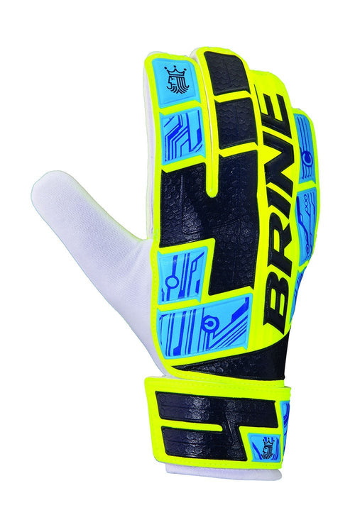 Junior King Match 2X Goalkeeper Glove - Yellow/Cyan/Navy