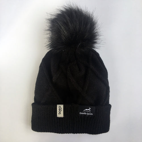 Women's RunXmitten Pom Beanie - Black