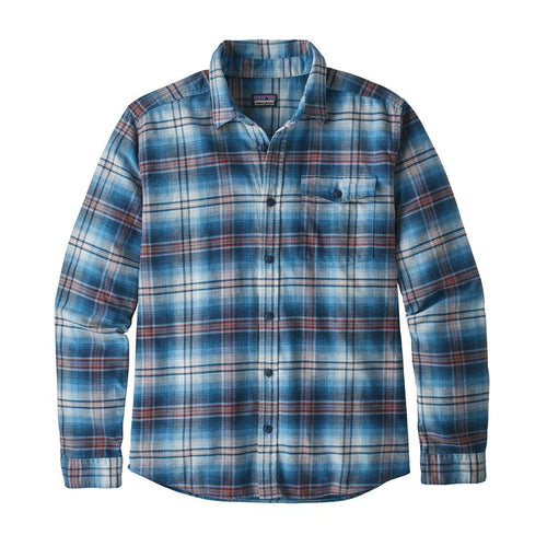 Men's Long-Sleeved Lightweight Fjord Flannel Shirt -Bad Ombre: Lumi Blue
