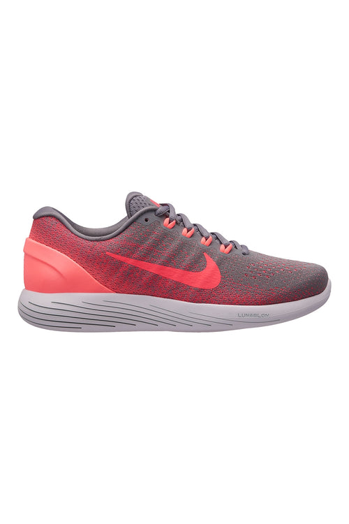 Women's LunarGlide 9 Running Shoe - Gunsmoke Solar Red