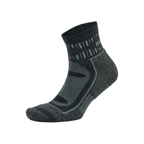 Blister Resist Quarter Running Socks - Grey/Black