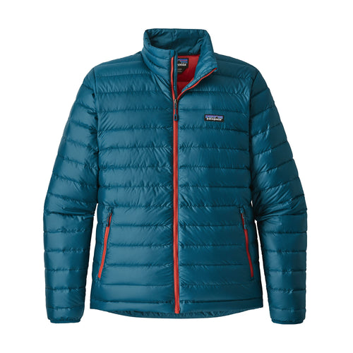 Men's Down Sweater Jacket - Big Sur Blue w/ Fire Red