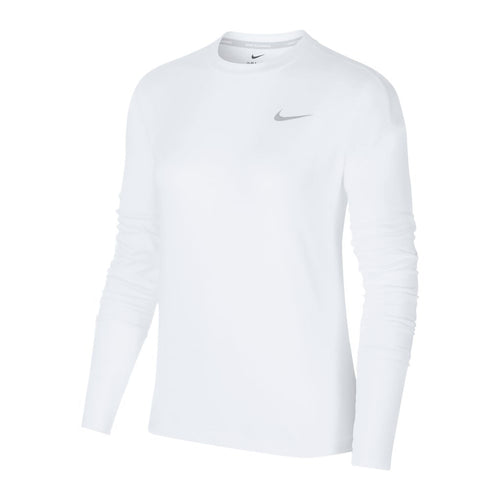 Women's Nike Element Long Sleeve Crew Top - White/Reflective Silver