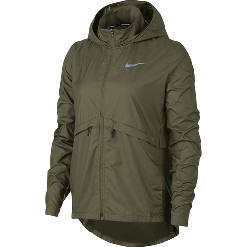 Women's Essential Hooded Running Jacket - Medium Olive