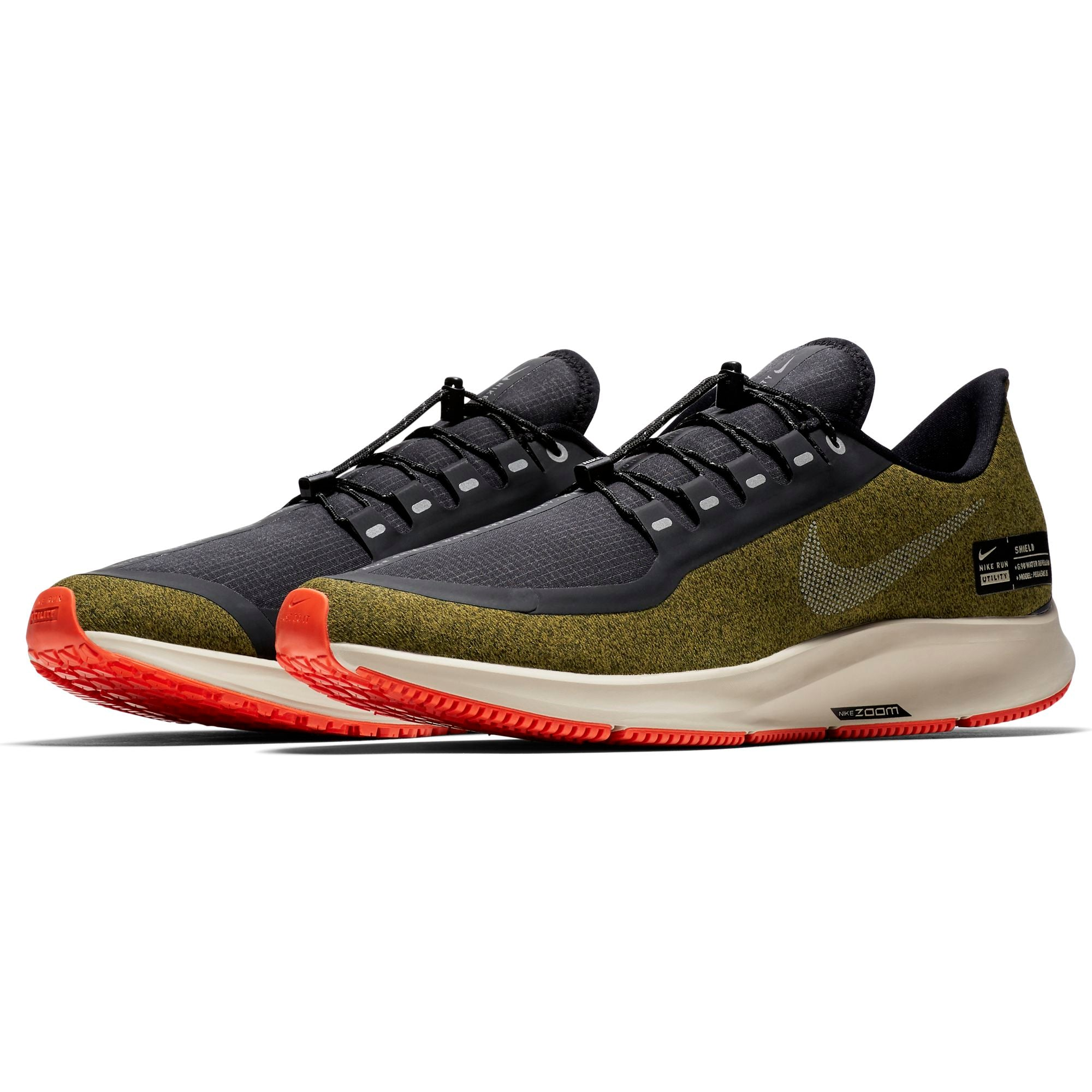 dc2d7dc2b4749 ... Men s Air Zoom Pegasus 35 Shield Running Shoe - Olive Flak Metallic  Silver Black ...