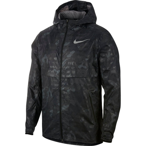 Men's Nike Shield Ghost Camo Running Jacket - Black / Black