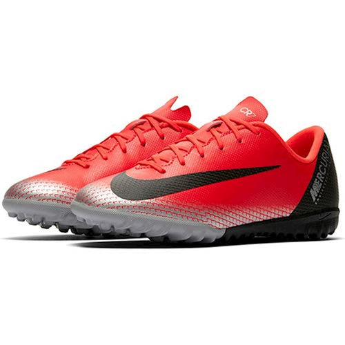 Junior Mercurial Vapor 12 Academy CR7 Turf Soccer Cleat - Bright Crimson/Black/Chrome/Dark Grey