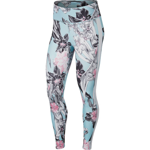 Women's All-In Printed Training Tights - Topaz Mist/White/Black