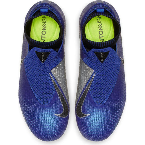 JR Phantom VSN Elite DF FG Soccer Cleat - Racer Blue/Metallic Silver/Black/Volt