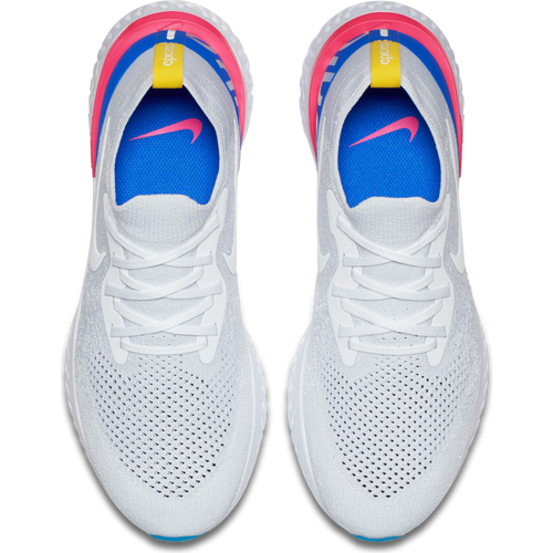 Men's Epic React Flyknit Running Shoe - White/White/Racer Blue/Pink Blast