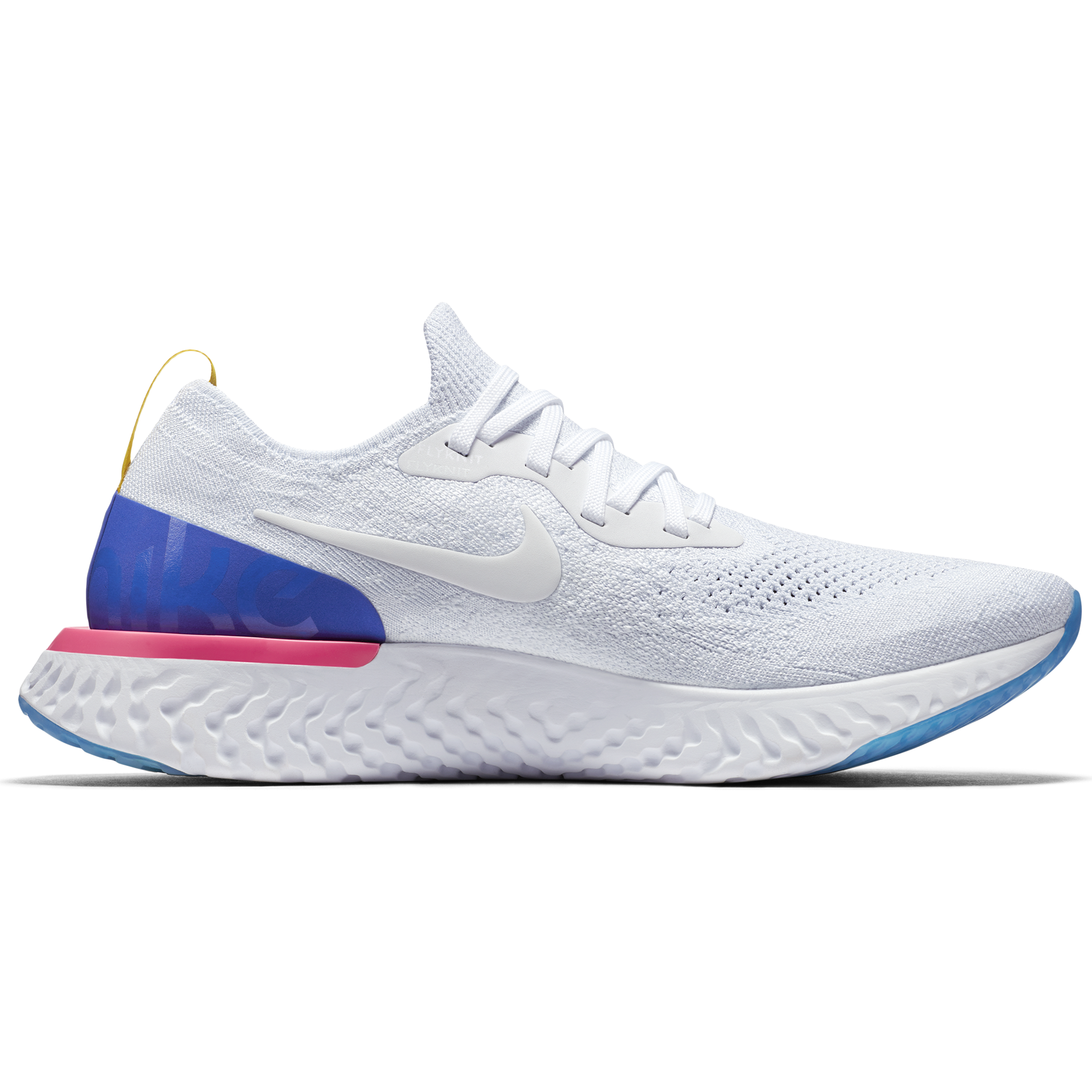 buy popular 3159e 41291 ... Men s Epic React Flyknit Running Shoe - White White Racer Blue Pink  Blast ...