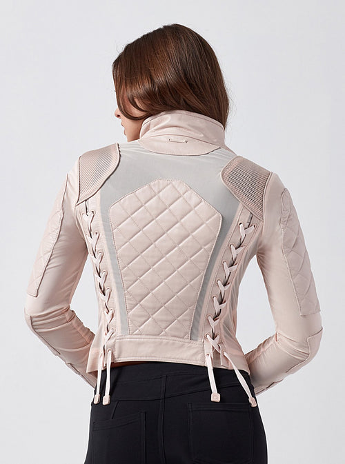 Women's Blanc Leather Mesh Moto-Pale Pink