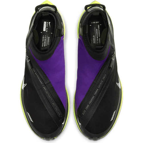 Men's Pegasus Turbo Shield Running Shoes - BLACK/METALLIC SILVER-VOLTAGE PURPLE