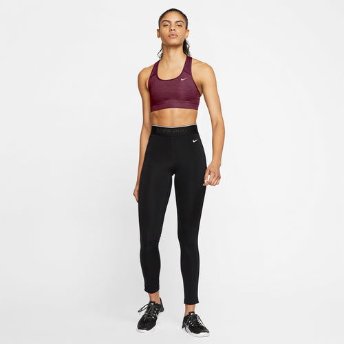 Women's Nike Swoosh Medium-Support Non-Padded Bra - Dark Beetroot/Pure/White