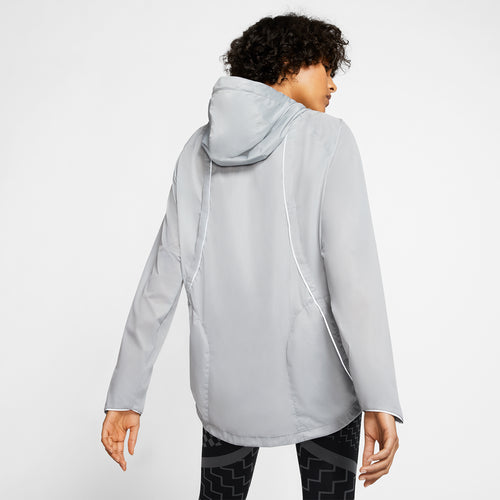 Women's Nike Shield Hooded Runway Jacket - Particle Grey/Reflective Silver