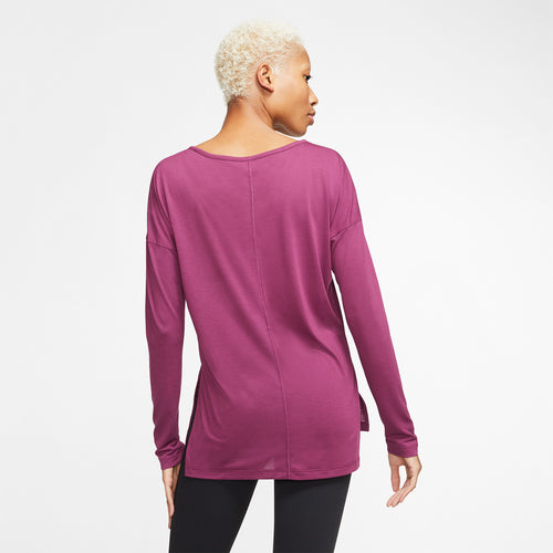 Women's Nike Yoga Layer Long Sleeve Top - Villain Red/Shadowberry