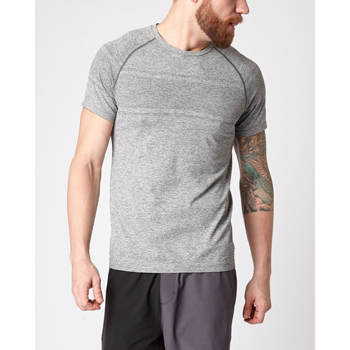 Men's Celliant® Short Sleeve Seamless Running & Training Shirt - Asphalt Grey Heather