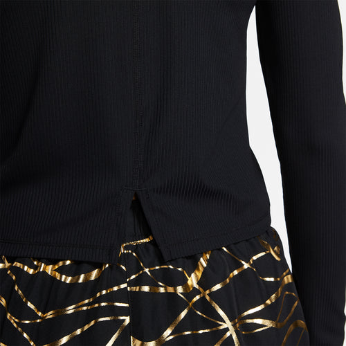 Women's Nike Icon Clash Long Sleeve Top - Black/Metallic Gold
