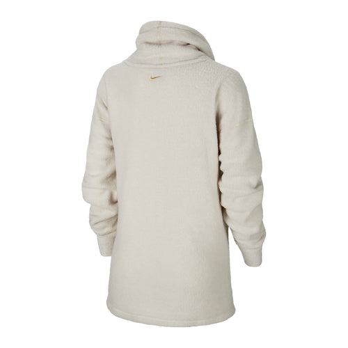 Women's Nike Therma Cozy Cowl Pullover - Light Orewood Brown/Heather/Metallic Gold