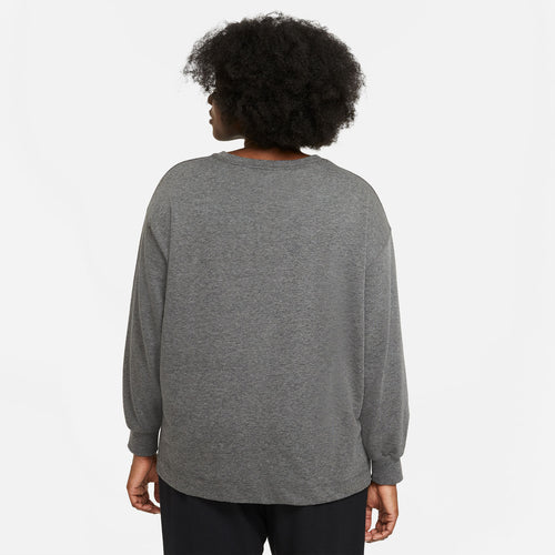 Women's Nike Yoga Long Sleeve Top - Black/Heather/Dark Smoke Grey
