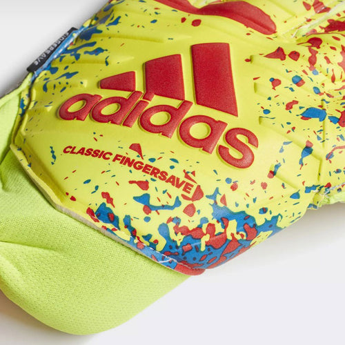 Classic Pro Finger Save Gloves - Solar Yellow / Active Red / Football Blue
