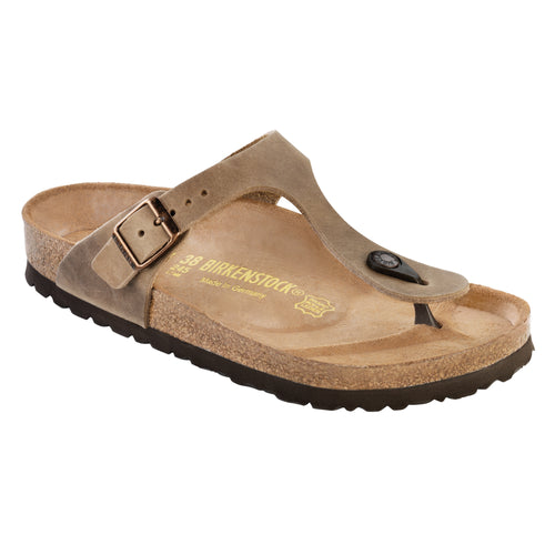 Women's Gizeh Cork Tobacco Brown Oiled Leather Sandal