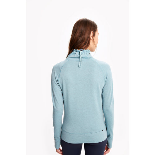 Women's Crescent Snood Long Sleeve Top - Agave Heather