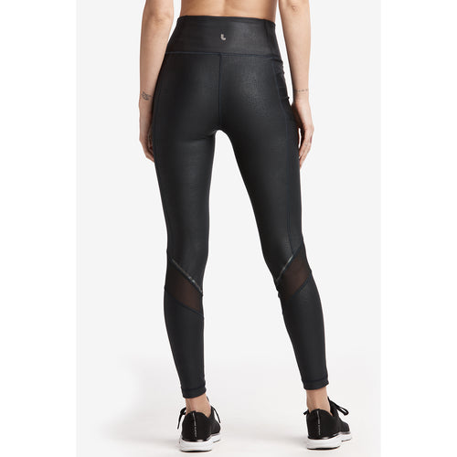 Women's Burst Ankle Legging - Black Python Embossed