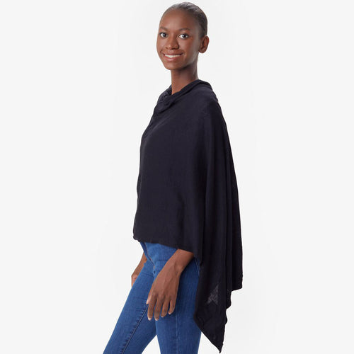 Women's Travel Poncho - Black