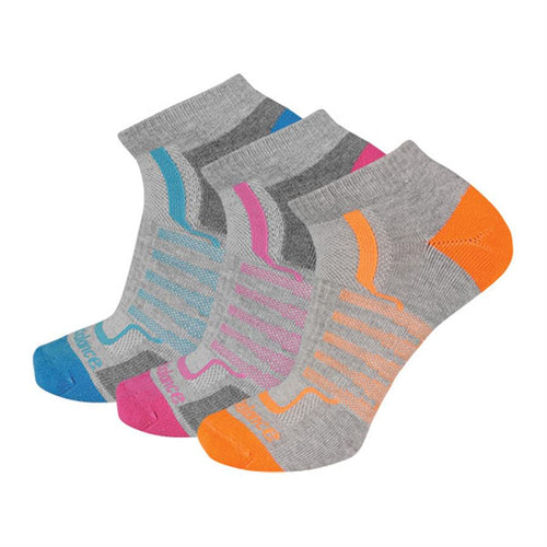 Women's Cushioned No Show Socks 3 Pair - Grey Assorted Colors