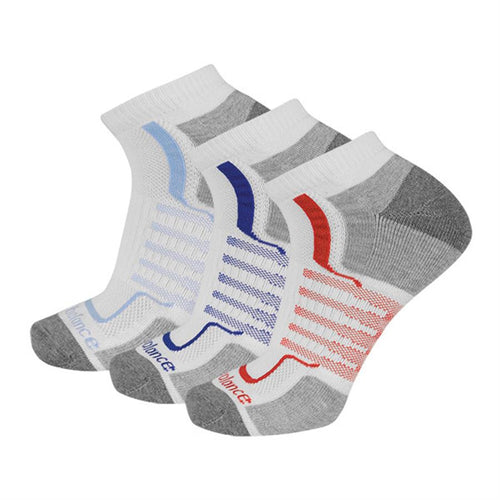 Men's Cushioned No Show Socks 3 Pairs - White Assorted Colors
