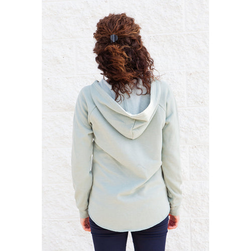 Women's Run Local California Wave Wash Hooded Pullover - Sage